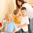 Stock Photo: Preschoolers and white teeth