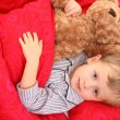 Little boy in bed — Stock Photo