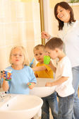 Preschoolers and white teeth — Stock Photo
