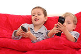 Brothers watching TV — Stock Photo