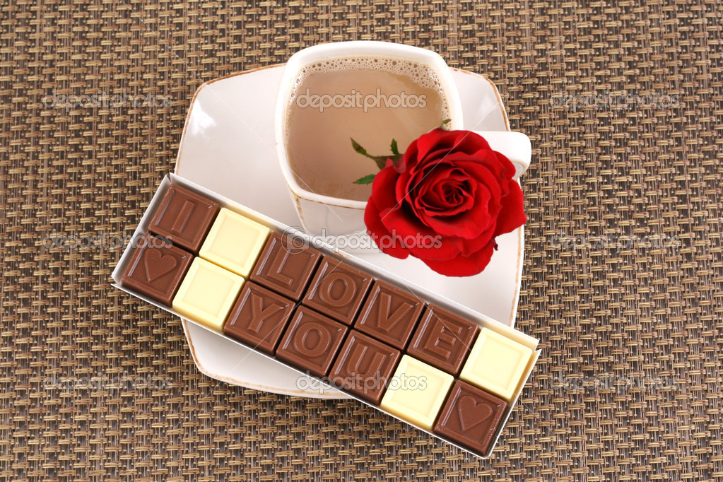 Cup of coffee and box of chocolates - I love you - perfet for Valentine's day or birthday — Stock Photo #4653713