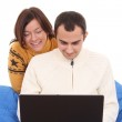Happy couple with laptop — Stock Photo #4667758