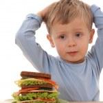 Boy and big sandwich — Stock Photo #4668318