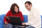 E-shopping with laptop — Stock Photo