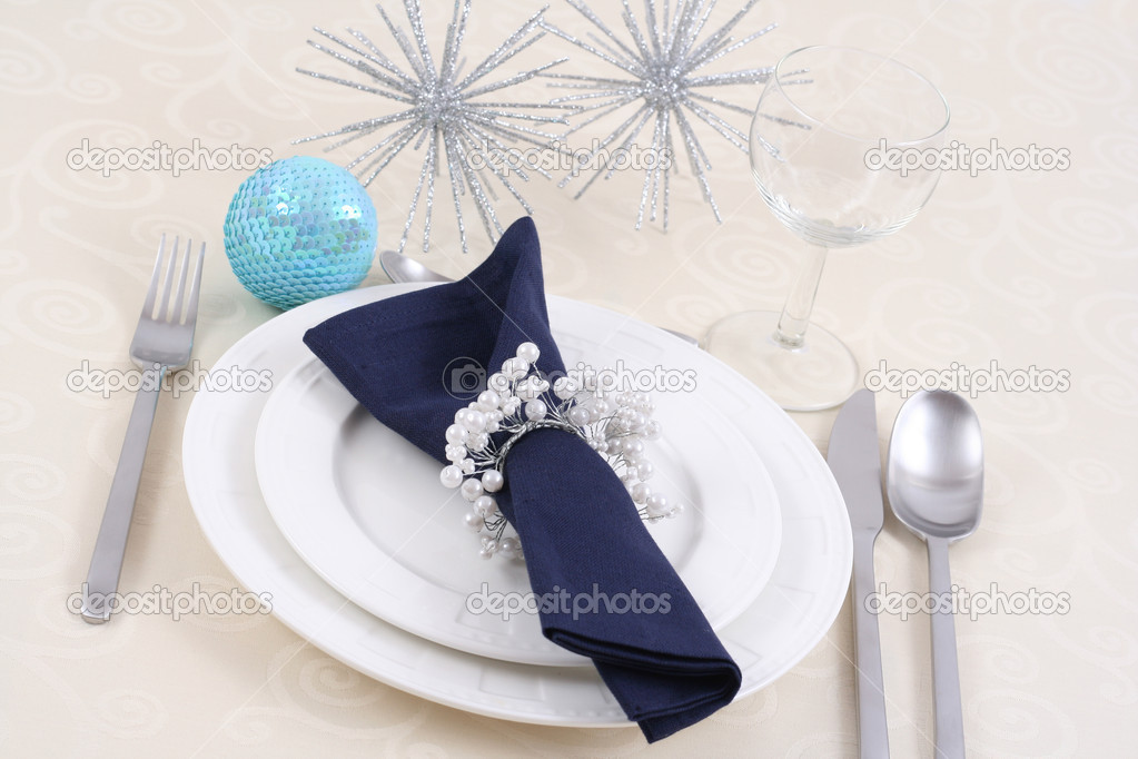 Christmas table setting - ready for Christmas dinner  Stock Photo #4666983
