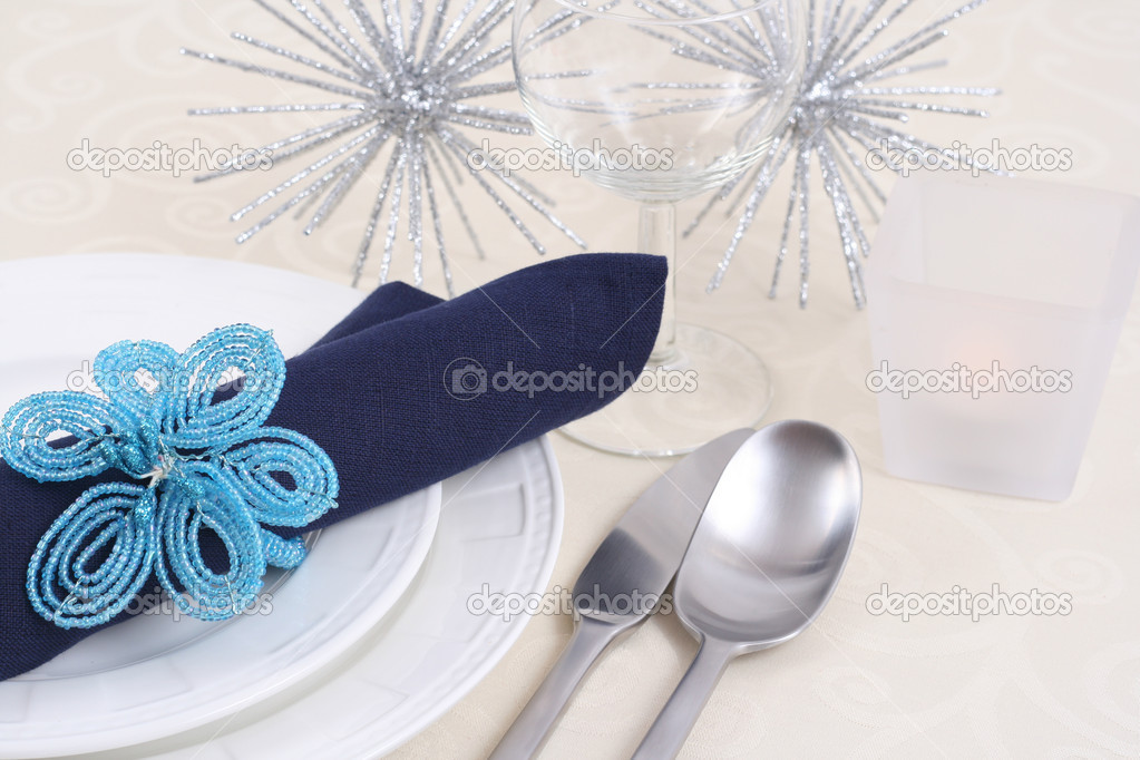 Christmas table setting - ready for Christmas dinner  Stock Photo #4667073