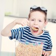 Eating cereals — Stock Photo