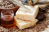 Honey and wheat soap — Stock Photo