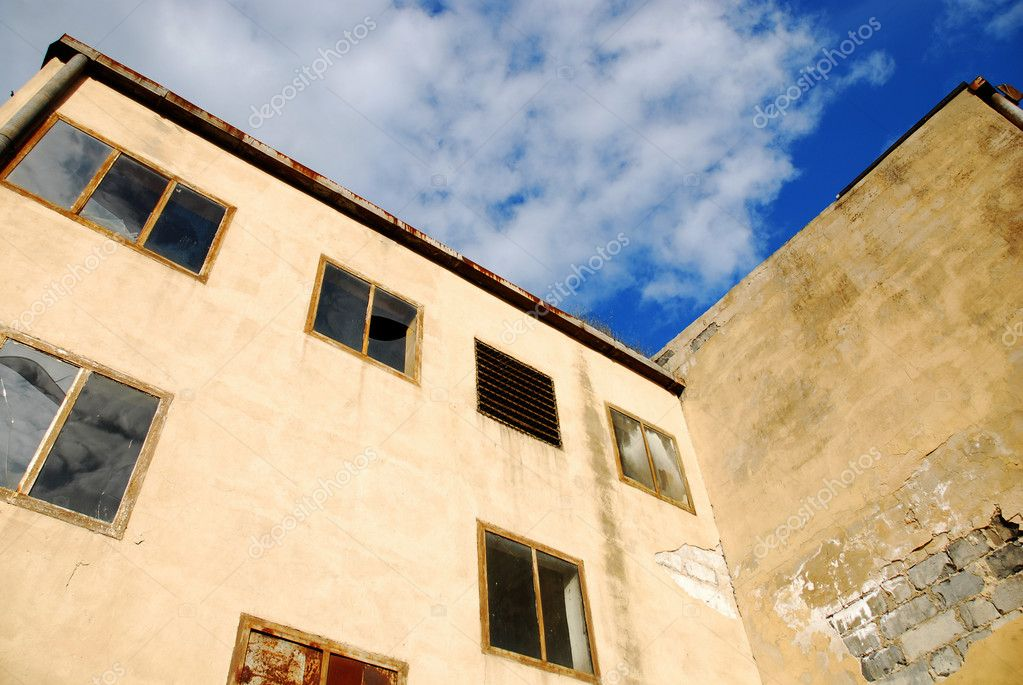 Destroyed industrial building and courtyard on crisis time   Stock Photo #3045510