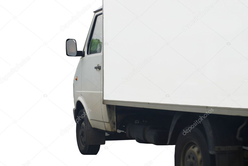 White delivery truck isolated on white background.   Stock Photo #3081290