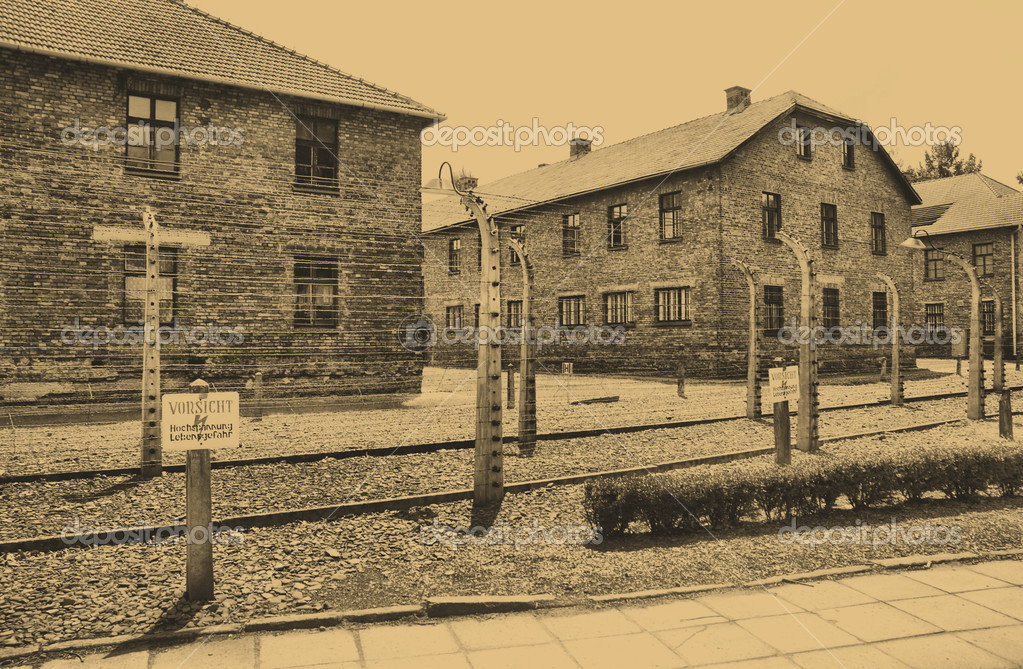 Old style photo of Auschwitz Birkenau camp — Stock Photo #3138709