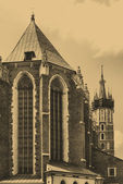 The tower of Mariacki Church in Cracow, Poland — Stock Photo