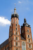 The tower of Mariacki Church in Cracow — Stock Photo