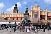 Tourists on the Main Square in Cracow — Stock Photo