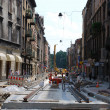 Renovation of the street in the old city in Cracow — Foto Stock