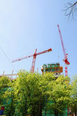 Steel crane at building site — Stock Photo