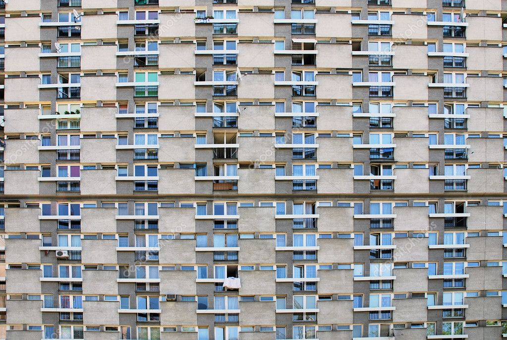 Ugly hive like resident block building with lots of windows and balconies — Stock Photo #3677586