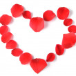 Heart made of rose petals isolated — Stock Photo