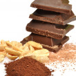 Royalty-Free Stock Photo: Chocolate, cocoa and hazelnuts