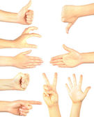 Hand gestures set, isolated. — Stock Photo