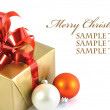 Gift and baubles isolated — Stock Photo
