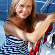 Girl on a yacht - Stock Photo