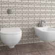 Modern toilet with beige tile on wall — Stock Photo