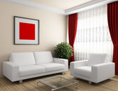 Interior with white furniture — Stock Photo