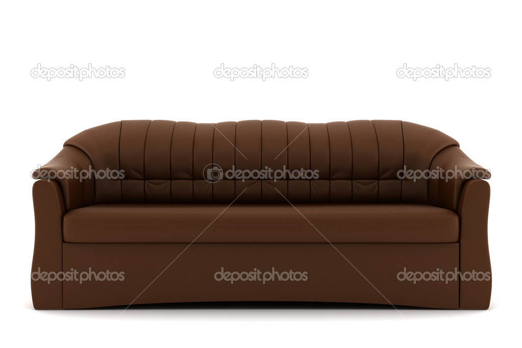 brown leather sofa isolated - photo #2
