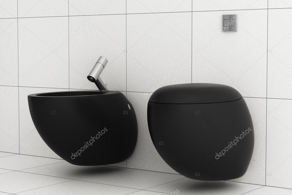 Modern Bathroom With Black Toilet Bowl And Bidet Stock Photo Tiler84 324