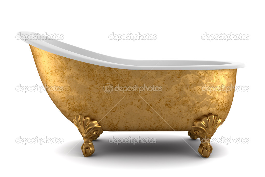 Classic bathtub isolated on white background with clipping path  Stock Photo #3264902