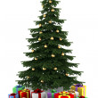 Christmas tree with color gift boxes isolated on white background — Stock Photo