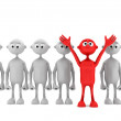One red man stand out from the crowd. leader concept — Stock Photo