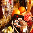 Sushi with champagne — Stock Photo