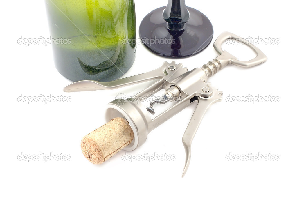 Screw corkscrew with a wooden stopper with a bottle close up — Stock Photo #2769792