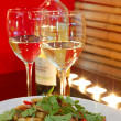 Stock Photo: White wine with salad