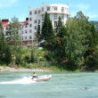 Hotel on  mountain rivers - Stock Photo