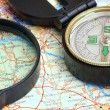 Stockfoto: Compass on map