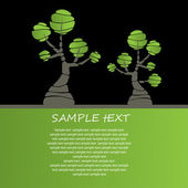 Card design with stylized trees and text — Stock Vector