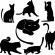 Stock Vector: Black cat silhouette collections
