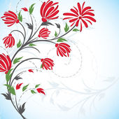 Abstract background with red flowers. — Stock Vector