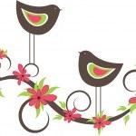 Two birds in love. vector illustration — Stock Vector