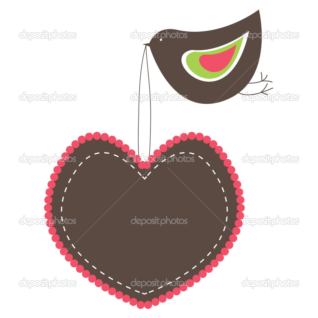 Pink Heart Shaped banners with  bird. vector illustration — Stock Vector #3165819