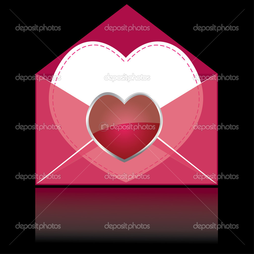 Colorful pink mail with heart and white paper for you  . vector illustration — Stock Vector #3513618