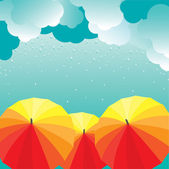 Colored autumn Umbrellas. Vector illustration — Stock Vector