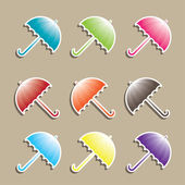 Set of colorful Umbrellas. Vector illustration — Stock Vector