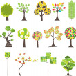 Set of  Colorful  tree. Vector illustration — Imagens vectoriais em stock