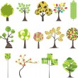 Set of  Colorful  tree. Vector illustration - Stok Vektr