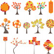 Set of Colorful Autumn trees. Vector illustration — Stock Vector #3731488