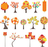 Set of Colorful Autumn trees. Vector illustration — Stock Vector